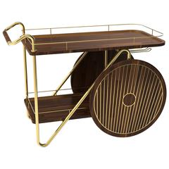 European Mid-Century Modern Walnut Wood and Brass Durell Drinks Bar Cart