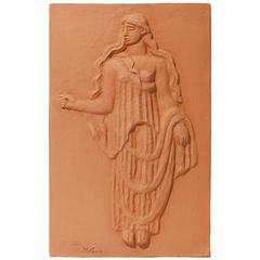 Plaque Depicting a Classical Female Figure in Peplos by Carl Milles