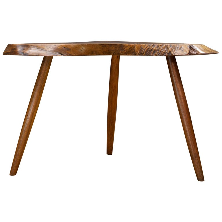 Adirondack Rustic Free Edge Slab Table For Sale At 1stdibs: George Nakashima Wepman Table Live Edge Rustic CabinModern