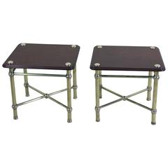 Pair of Early 20th Century Mahogany and Brass Low Tables