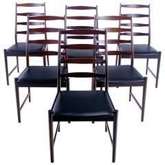 Set of Six Danish Modern Rosewood Ladder Back Chairs by Torbjørn Afdal