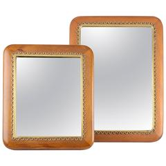 Josef Frank, a Pair of Mahogany and Brass Table or Wall Mirrors, Sweden, 1950s