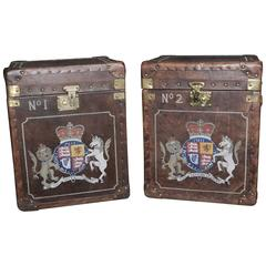 Pair of Leather Steamer Trunk Side Tables Boxes Luggage Case