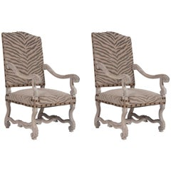 Pair of French Louis XIII Style Fauteuils a la Reine