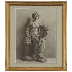 An Early 19th-century Charcoal on Paper Drawing of the Muse Thalia