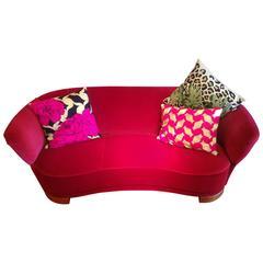 Mid-Century Pink Velvet Sofa