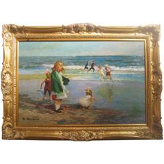 """Children at the Beach"" Oil Painting in Gilt Frame by J. Deau"