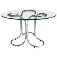 Vintage Runder Glastisch im Stil von Giotto Stoppino mit Metallfuß