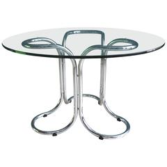 Vintage Glass Table in the Style of Giotto Stoppino with Metal Base