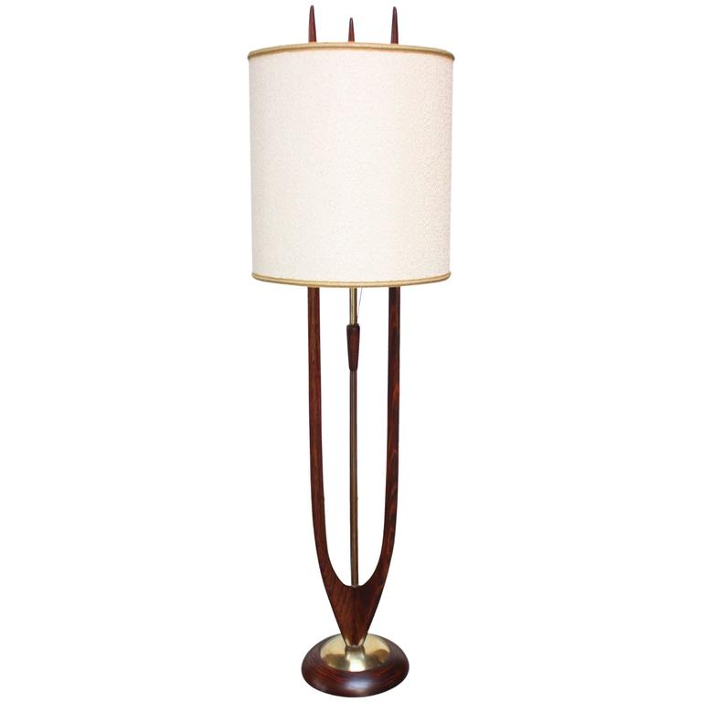 mid century modeline stained walnut and brass floor lamp. Black Bedroom Furniture Sets. Home Design Ideas