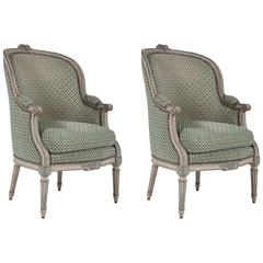 Pair of Louis XVI Blue and Grey Painted Upholstered Bergeres