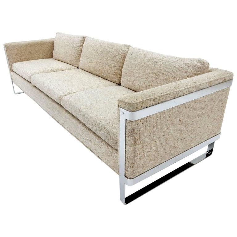 1970s Milo Baughman Chrome Sofa 1
