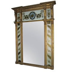 Antique American Federal Tabernacle Mirror With Eglomise