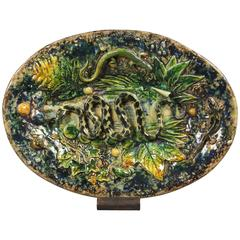 Palissy Ware Small Platter by Henry Destrejuel