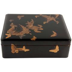Large Japanese Black Lacquer Ryoshibako 'Document' Box