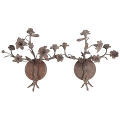 Three-Light Tole Peinte French Floral Sconces from the Estate of Bunny Mellon