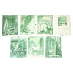 Set of 7 French Watercolor Renderings