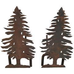 Pair of Iron Tree Andirons