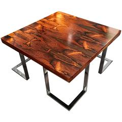 Chrome and Wood Coffee Table by Milo Baughman