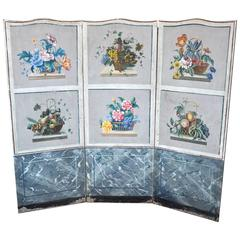 Three-Panel French 19th Century Wallpaper Painted Screen