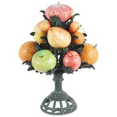 Tole Peinte and Carved Marble Fruit Center Peice from the Estate of Bunny Mellon