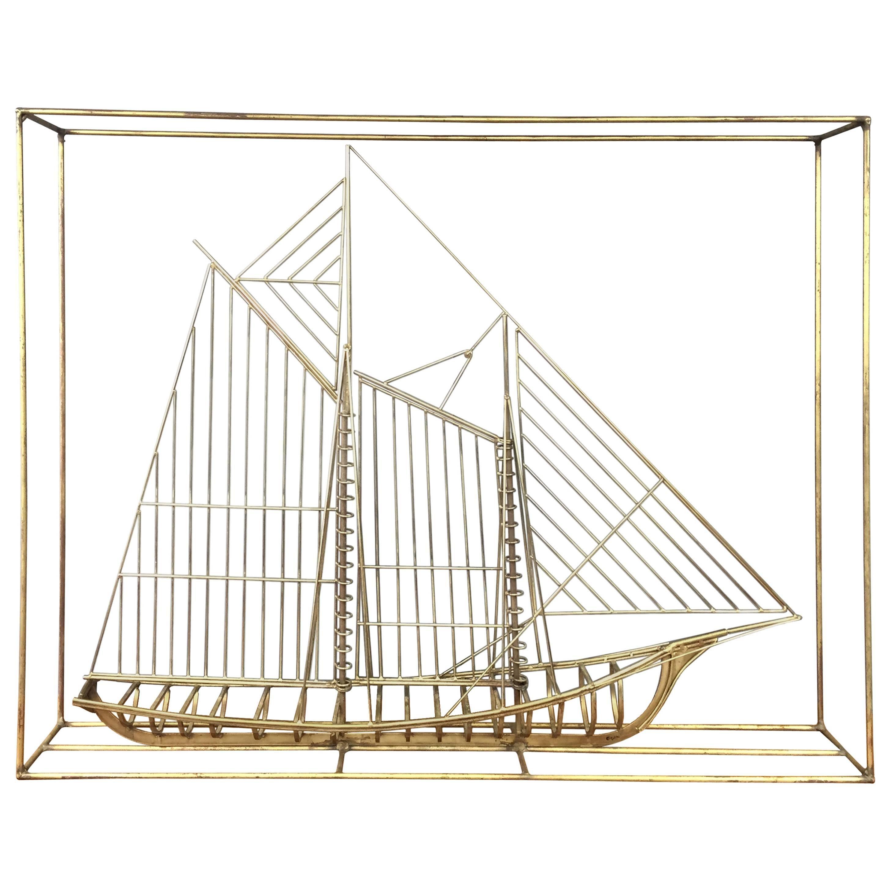 Curtis Jeré Brass-Colored Metal Clipper Ship Sculpture, Signed
