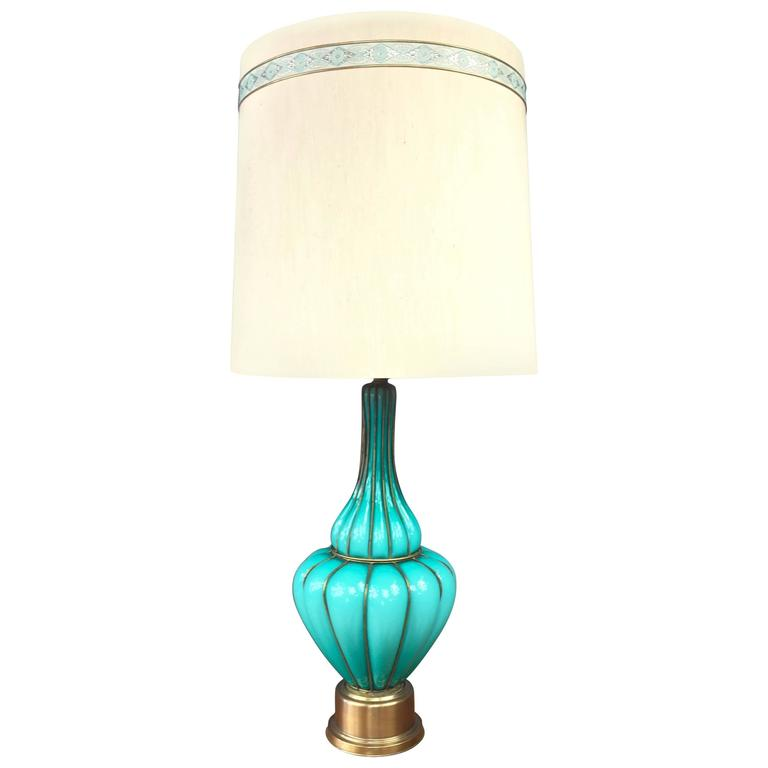 monumental turquoise colored murano glass and brass table lamp by. Black Bedroom Furniture Sets. Home Design Ideas