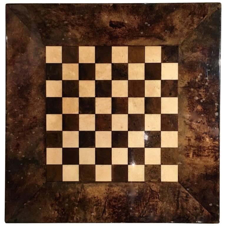Aldo Tura Lacquered Goatskin Chessboard