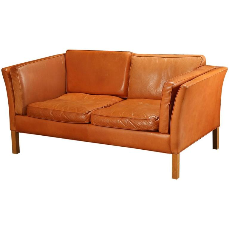 Danish Modern Leather Upholstered Loveseat At 1stdibs