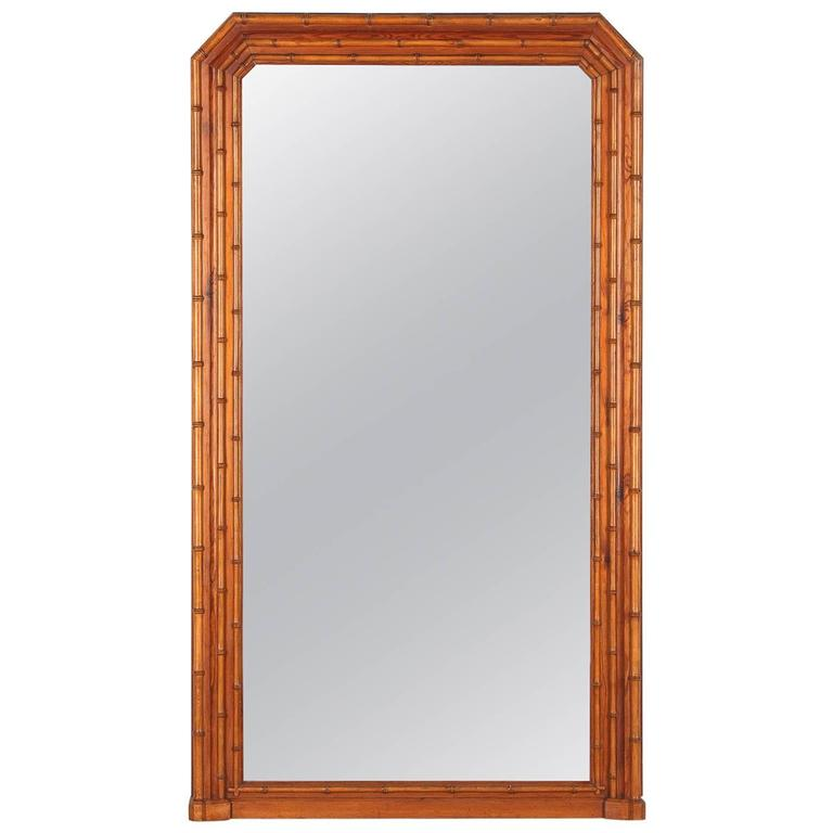 Napoleon III French Colonial Style Bamboo Mirror, Late 1800s