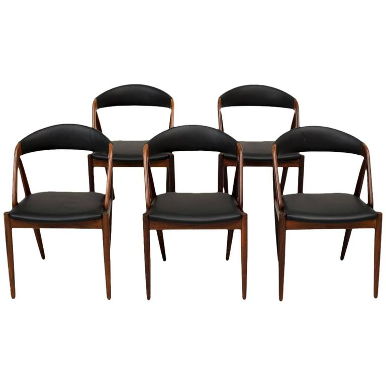 Set Of Five Kai Kristiansen Dining Chairs In Rosewood At