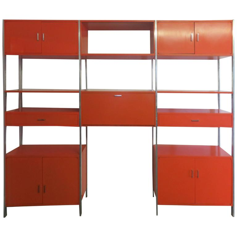 Rare Orange Three-Bay Wall Unit by Founders in Baughman Style Mid-Century Modern
