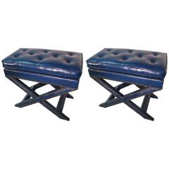 Pair of Benches Ottomans Style of Billy Baldwin Faux Ostrich Leather