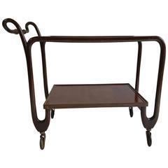 Italian Modernist Bar Cart/Trolley, Italian Walnut, Paolo Buffa