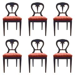 Set of Six Black Ebonized Biedermeier Style Dining Chairs