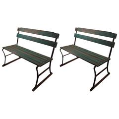 Pair of Rustic Industrial Wood Slat Benches