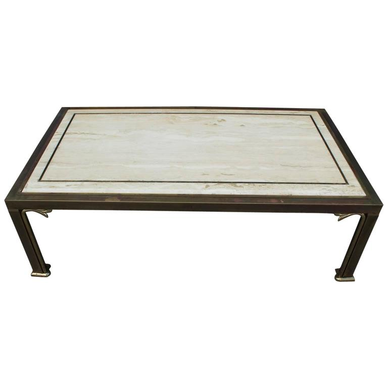 Glamorous Travertine And Brass Modern Coffee Table With