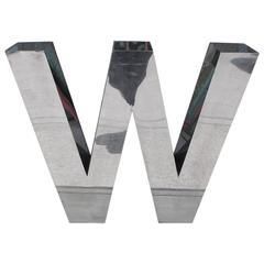 Striking Large-Scale Chrome Stainless Steel Letter W