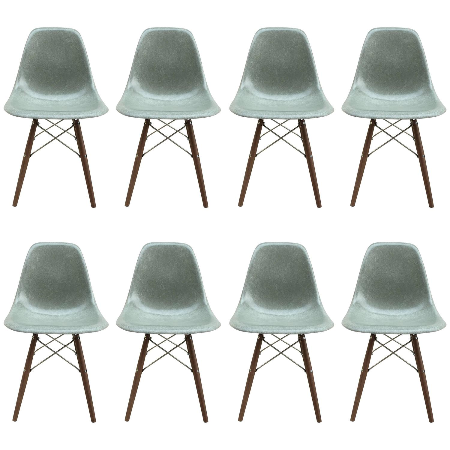 eight herman miller eames seafoam green dining chairs for sale at