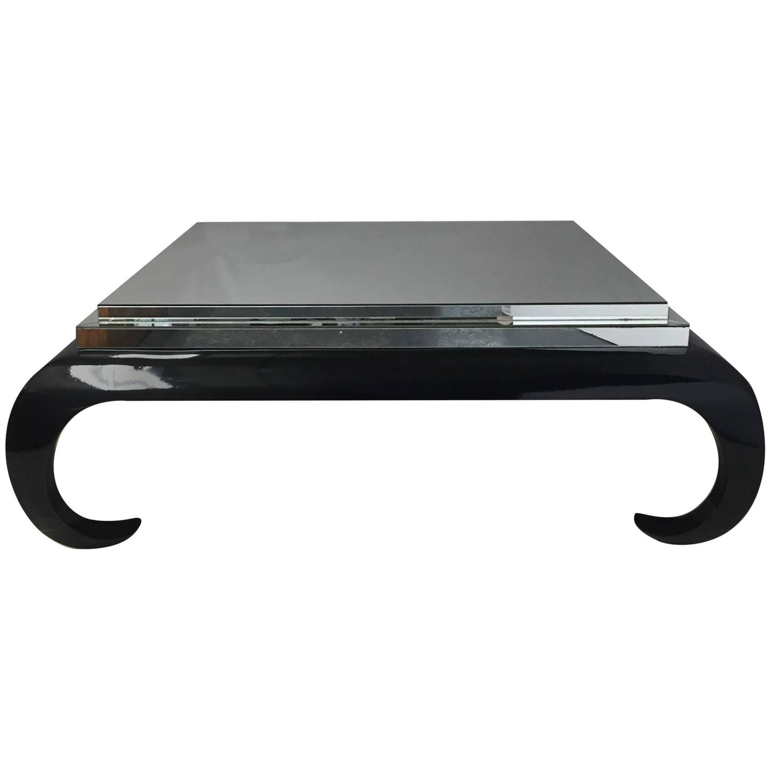 Large Square Black Laquer And Mirrored Coffee Cocktail Table For Sale At 1stdibs