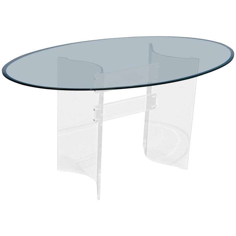 Mid-Century Modern Transparent Lucite and Glass Oval Dining Table Desk
