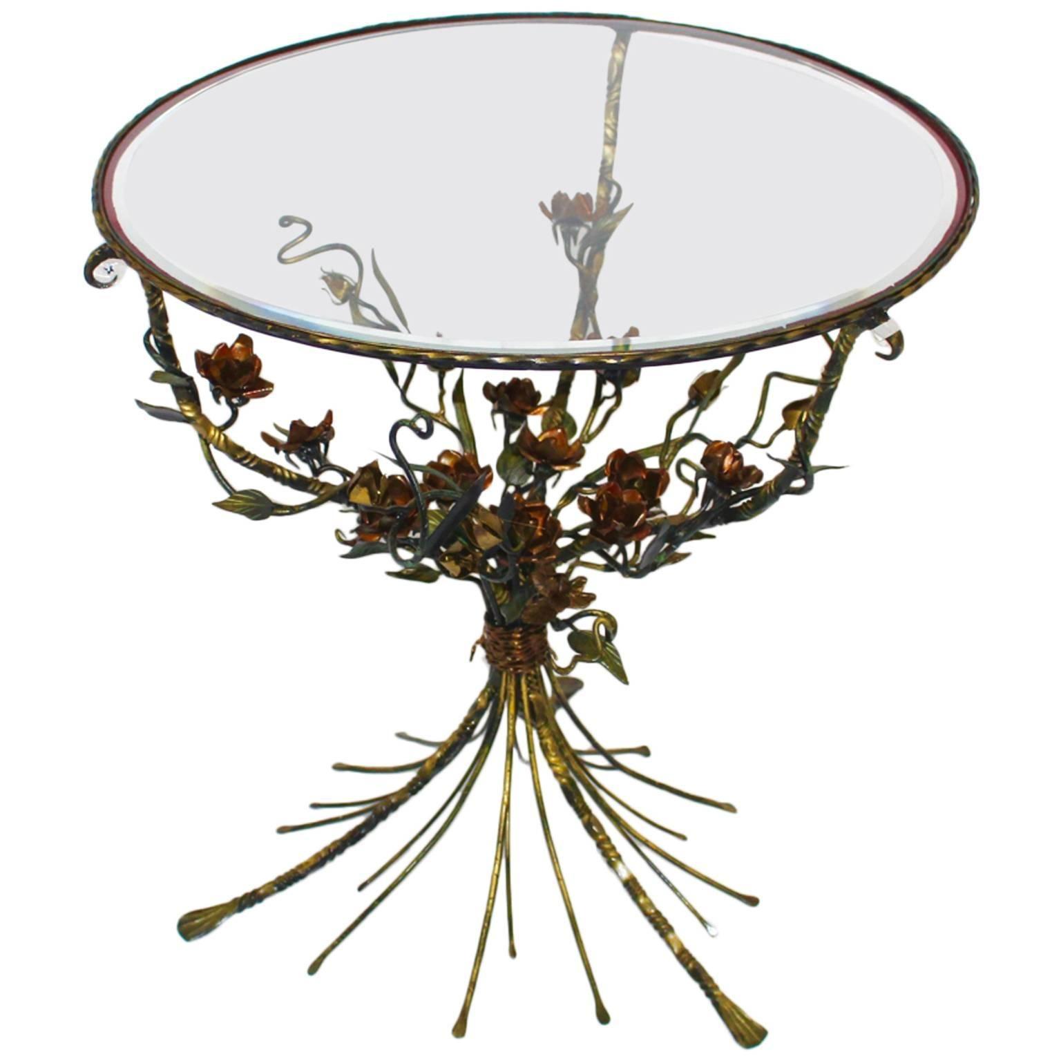 Hollywood Regency Style Vintage Metal Flower Coffee Table Side Table 1950s