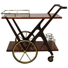 Mid Century Modern Vintage Cesare Lacca Bar Cart Italy 1950s Walnut Brass Wood