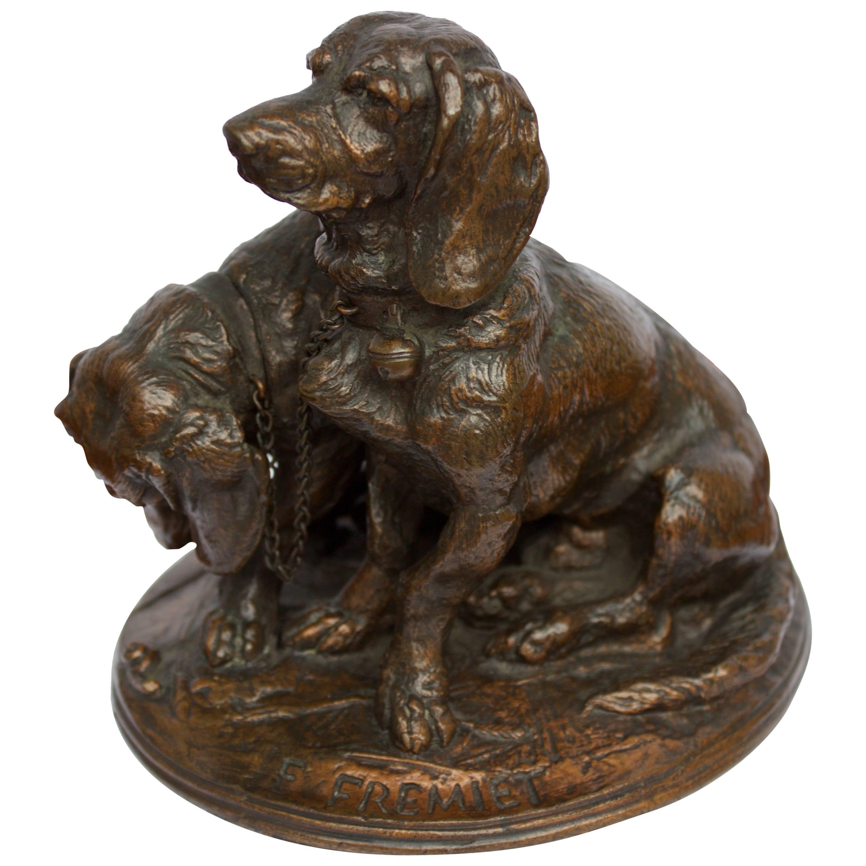 """French Bronze Sculpture, E.Fremiet """"Deux Chiens Bassets, Ravageot et Ravageole"""""""