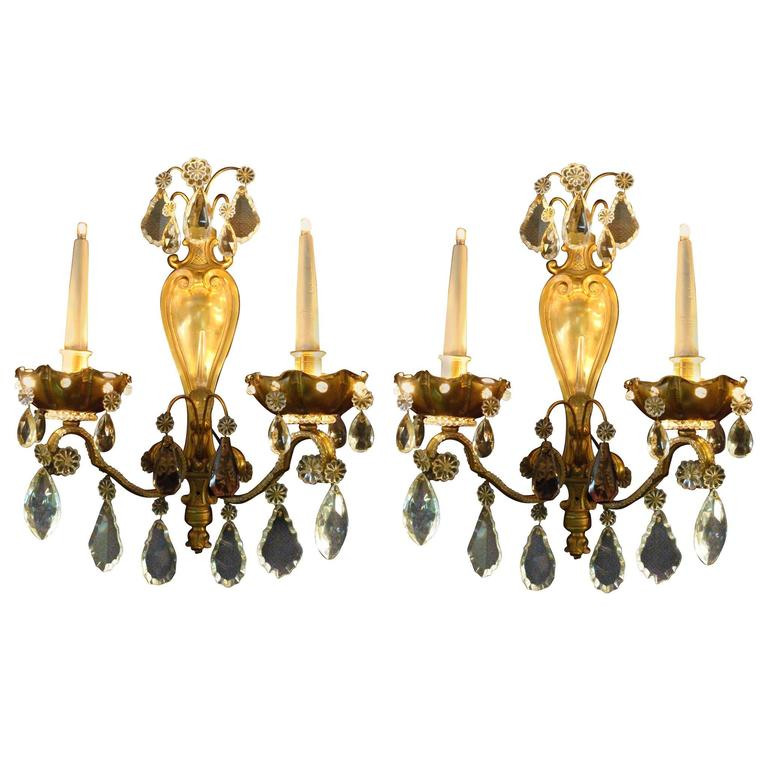 Pair of Fine French Mid-Century Wall Lights Sconces by Maison Baguès