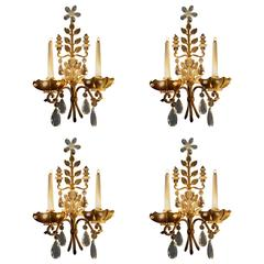 Four Maison Baguès Wall Sconces, France, 1940