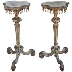 Pair of 19th Century Venetian Carved Painted and Gilded Pedestals