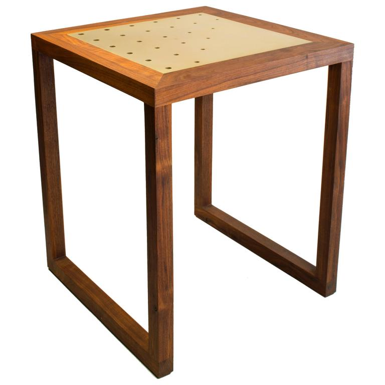Amplitude End Table : walnut and inlaid brass, handmade and built to size  For Sale