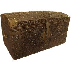 Magnificent Antique Leather Chest from England, Late 1700s