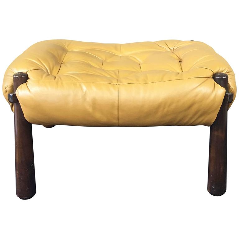 Percival Lafer Leather and Jacaranda Ottoman